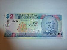 billet de 2 dollars de barbados état neuf voir photo