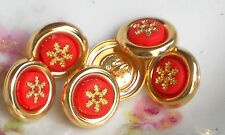 Vintage Glass buttons Japan Button Flower Red  One of kind Rare 1/2 NOS #1096G