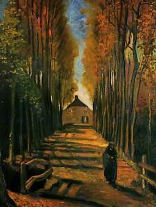 GOGH AVENUE OF POPLARS AT SUNSET 1884 OLD ART PAINTING PRINT 12x16 inch 2752OM