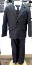 BRAND NEW BOYS FORMAL 5 PIECE SUIT BOY PROM WEDDING BLACK  AGES 1 TO 14