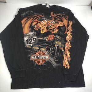 Harley Davidson Smoky Mountain TN Pigeon Forge Long Sleeve Size L Graphic Dragon