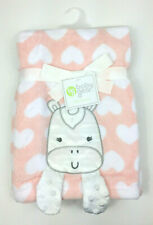 """Baby Gear Unicorn Hearts Baby Blanket 30"""" x 40"""" Embroidered New Pink Peach Girl"""