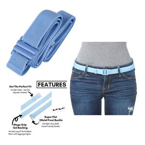 Tights Up Adjustable Elastic Stretch Belt Flat Buckle Size 4-14 Flat Buckle Blue