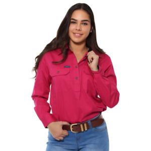 Pentecost River Magenta Womens Half Button Work Shirt Ringers Western