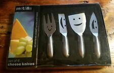 Metalla 4pc HappyFace Stainless Steel CHEESE KNIVES - Fun For Your Party! NWOT