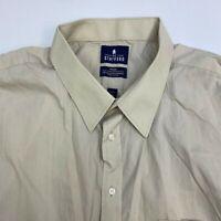 Stafford Travel Button Up Dress Shirt Men's Size 20 Tall Short Sleeve Tan Casual