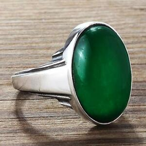 ArtDeco Vintage Style Mens Green JADE Ring in Solid Sterling Silver all sizes