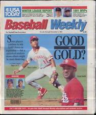 Ozzie Smith Cardinals Barry Larkin Reds USA Today Baseball Weekly Dec 5 1991