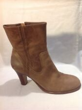 Faith Brown Ankle Leather Boots Size 8