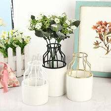 Ceramic Flower Pot Metal Bracket Garden Vase Plant Display Stand Holder  |