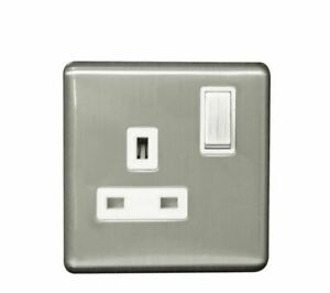 Arlec 13A Single Switched Socket Screwless Brushed Steel 1 Gang 9111GBSS NEW