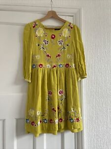 French Connection Yellow Embroidered Boho Peasant Dress Long Sleeve Size 10