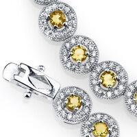 925 Sterling Silver CZ Canary Yellow Cubic Zirconia Milgrain Tennis Bracelet