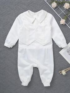 Boys Christening 0-18 M White Romper Newborn Baby Boys Suit Romper