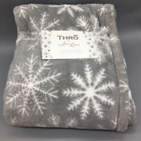 Snowflake Soft Plush Throw Blanket Gray White 50x60 Christmas THRO Marlo Lorenz