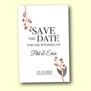 Save the Date Cards Magnetic 50 Personalised Rustic Wedding Invites and Envelope
