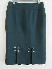 Dark Green Karen Millen Knee Length Pencil Skirt - Button details - Size 10