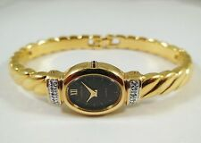 Lassale by Seiko Gold Tone Metal 1E20-2300 w/ Gems BLK Sample Watch NON-WORKING