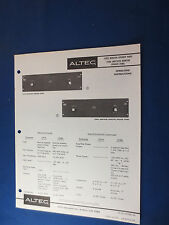 ALTEC 1597A  MONITOR SPEAKER PANEL 1598A AMPLIFIED OPERATING MANUAL ORIIGNAL