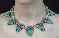 Asian Ethnic Sterling Silver Necklace Tribal Handmade Turquoise Jewelry SAK15
