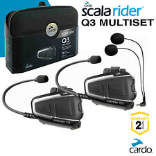 Cardo Scala Rider Q3 Multiset Motorcycle Motorbike Bluetooth Intercom Headsets