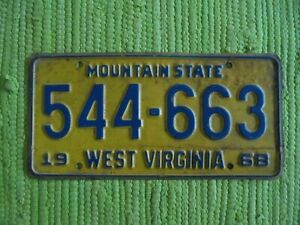 1968 West Virginia License Plate WV 68 Mountain State Tag 544-663