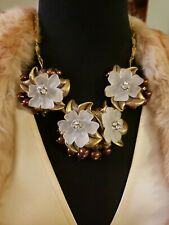 Goldtone COLDWATER CREEK Flower Cluster Necklace, Crystals & Pearls, Up To 21""