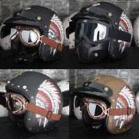 Open Face Motorcycle Helmet Leather Indian Feather Embossing Cruiser Bike L