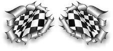 Small Pair STD RIP Ripped Torn Metal B&W Chequered Racing Flag car sticker decal