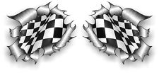 Petite paire STD RIP Torn Ripped Metal B&W damier Racing Flag voiture sticker autocollant