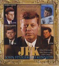 US President JFK/JOHN FITZGERALD KENNEDY 4v MNH Stamp Sheet (2002 Sierra Leone)