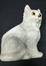 Lefton White Long Hair Cat Planter with Lefton sticker H4625