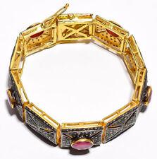 8.35cts Rose Cut Diamond Ruby Antique Victorian Look Silver Bangle Bracelet