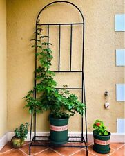 Pot Plant Stand with Base and Climbing Frame Support Trellis