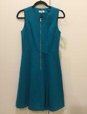 CALVIN KLEIN WOMEN'S ZIP FRONT SLEEVELESS PONTE DRESS GREEN SZ 2 NWT