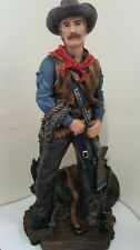 "Vtge - Western Cowboy w/Saddle Statue Figure Cold Cast Resin 13"" Tall X 6"" X 4"""