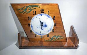 Orologio da Tavolo - Caminetto - in legno - verniciato lucido -resina epossidica