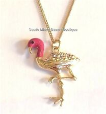 "Gold Pink Flamingo Necklace 30"" X-Long Crystal Island Plus Size Plated Tropical"