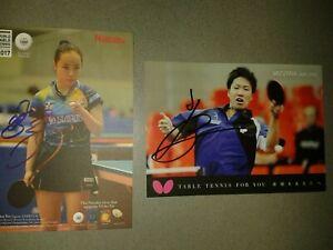 Mima Ito / Jun Mizutani -Olympia Gold Mixed Japan Tischtennis 2020 handsigniert