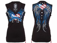 Rebel Saints AFFLICTION Women SLEEVELESS T-Shirt USA FLAG Wings Biker Sinful $40