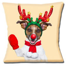 "FUNNY TAN WHITE JACK RUSSELL CHRISTMAS ANTLERS WAVING 16"" Pillow Cushion Cover"