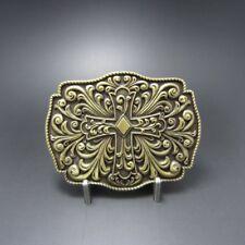 Celtic Cross Flowers Western Bronze Plated Belt Buckle