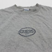VTG 90s Guess Jeans USA Gray Logo Spell Out T Shirt Men's Large