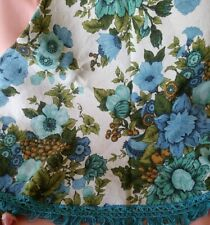 Vintage Linen Round Blue Floral Tablecloth w/ Fringed Edging