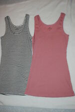 Womens 2 LOT TANK TOP Ribbed OFF WHITE / BLACK STRIPES Dusty Mauve Pink SIZE S