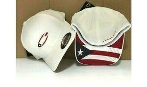 NWT OAKLEY TINCAN FLAG PUERTO RICO WHITE MEN'S HAT CAP FOS900117 SIZE S/M,L/XL