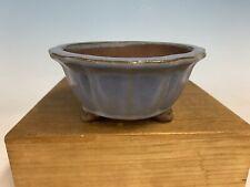 Blue Glazed Semi Cascade Shohin Size Tokoname Bonsai Tree Pot By Yamaaki 7�