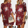 UK Womens Floral Long Tops Blouse Ladies Summer Beach Tunic Dress Plus Size 6-22