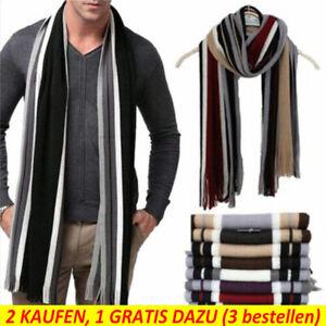 Herren Unisex Kaschmir Lang Schal Winter Warm Wendeschal Gestreift Quaste Schal