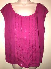AEROPOSTALE Women's Cap Sleeve 3/4 Buttoned Top Shirt FUCHSIA w/ SEQUINS XXL NWT